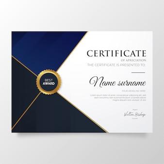 Modello moderno di certificato di apprezzamento con forme eleganti