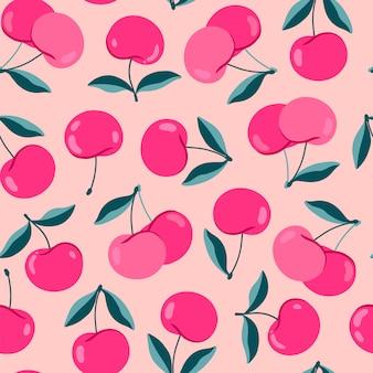 Modello moderno di ciliegio. ciliegie simpatico cartone animato su uno sfondo peachy. bacche succose rosa brillante. modello senza cuciture disegnato a mano