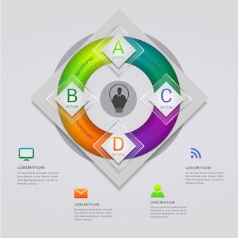 Modello moderno di infografica con quattro opzioni