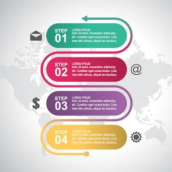 Modello moderno di infographic di affari di processo di processo di punti