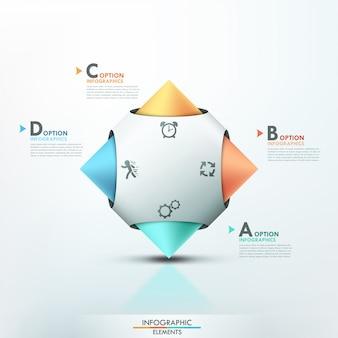 Modello moderno di opzioni di infographics 3d