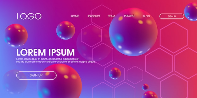 Modello moderno di progettazione di pagina web 3d fluido liquido geometrico colorato