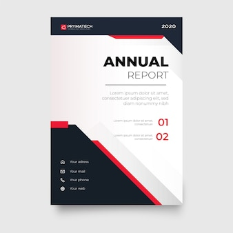 Modello moderno di relazione annuale con forme rosse