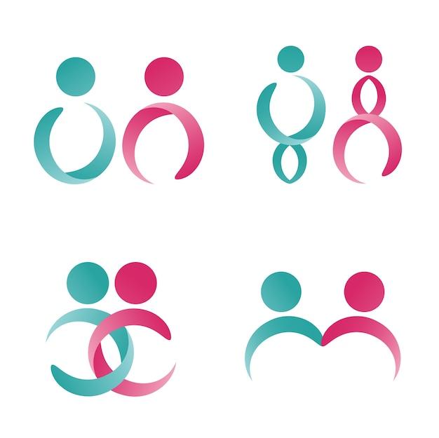 Modello moderno di simbolo e logo maschile e femminile.