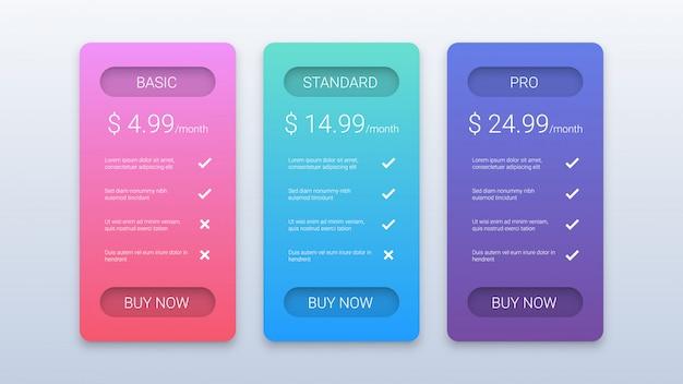 Modello moderno di tabella dei prezzi