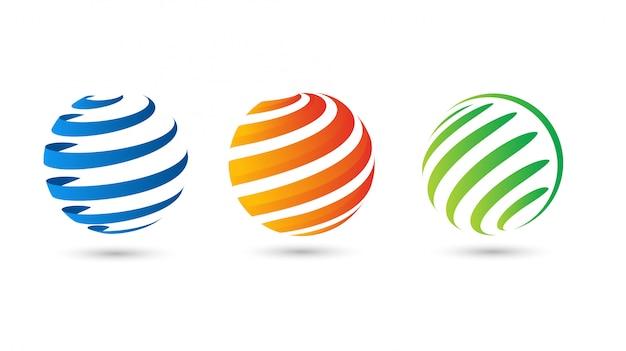 Modello moderno di vettore del logo del cerchio di pendenza del globo astratto del globo