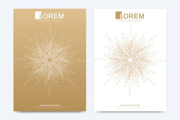 Modello moderno per brochure, depliant, flyer, copertina, catalogo, rivista o relazione annuale in formato a4. layout del libro di design aziendale, scientifico e tecnologico. presentazione con mandala d'oro.