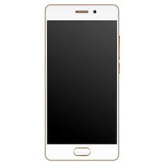 Modello moderno realistico di smartphone bordo dorato