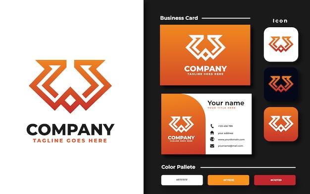 Modello monogramma logo lettera w e biglietto da visita