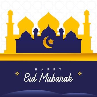 Modello moschea happy eid al-fitr mubarak adatta per social media post