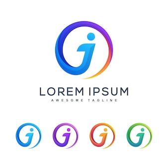 Modello multicolore di progettazione di vettore dell'illustrazione di concetto della lettera j