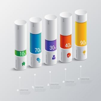 Modello multicolore di vettore di infographics dell'istogramma dell'indicatore di cronologia di 5 punti. concetto di relazione finanziaria.