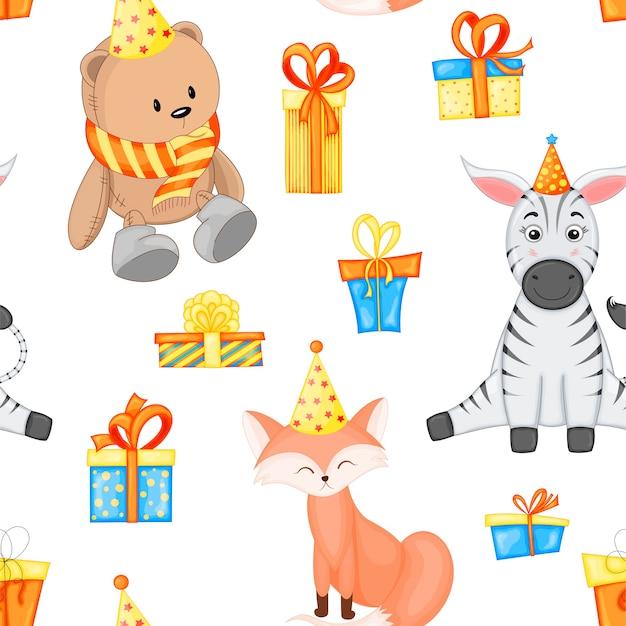 Modello multicolore senza cuciture di compleanno con simpatici animali su sfondo bianco. stile cartone animato.