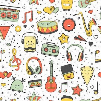 Modello musicale vettoriale, stile doodle. trama musicale senza soluzione di continuità. elementi di design disegnati a mano: note e cuffie, suonatore, strumenti musicali.