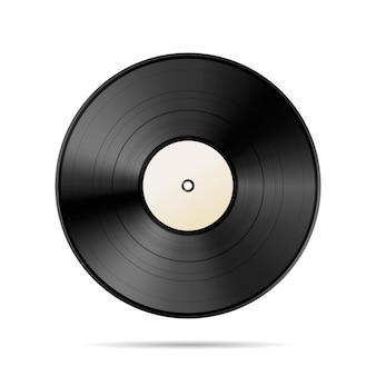 Modello nero d'annata del disco del vinile su bianco