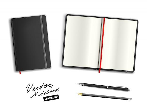 Modello nero quaderno aperto e chiuso con elastico e segnalibro. penna e matita nere cerulee realistiche di cancelleria. illustrazione del taccuino su fondo bianco.