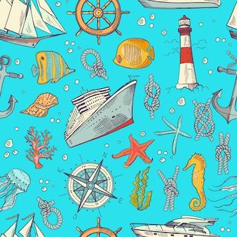 Modello o fondo colorato degli elementi del mare abbozzato. illustrazione di vita e animali marini