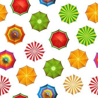 Modello o illustrazione degli ombrelli di spiaggia di estate
