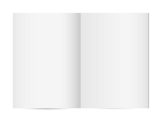 Modello o taccuino verticale aperto in bianco della rivista