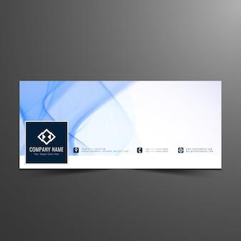 Modello ondulato blu facebook cover