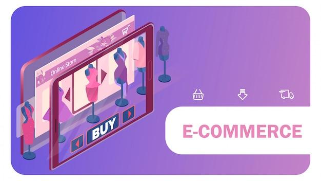 Modello online dell'insegna di web del deposito dell'abbigliamento femminile