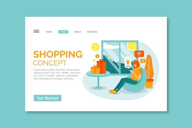 Modello online della pagina di atterraggio di acquisto di progettazione piana con l'illustrazione