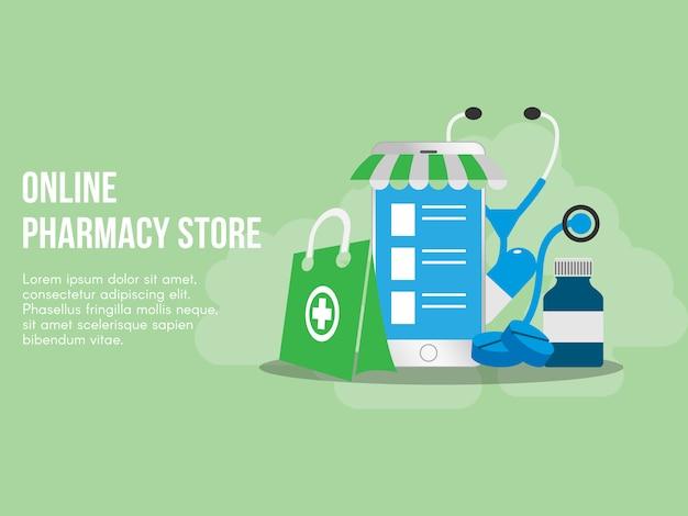 Modello online di progettazione di vettore dell'illustrazione di concetto della farmacia