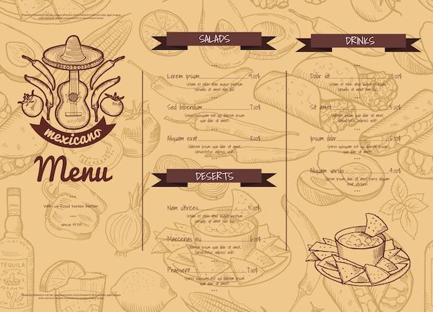 Modello orizzontale del ristorante o del caffè con gli elementi del cibo messicano schizzati. di ristorante, cena, pranzo messicano