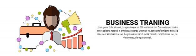 Modello orizzontale dell'insegna di concetto di istruzione di addestramento di affari