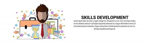 Modello orizzontale dell'insegna di concetto di istruzione di affari di sviluppo di abilità