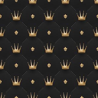 Modello oro senza soluzione di continuità con corone di re e fiori di giglio su uno sfondo nero scuro. illustrazione vettoriale