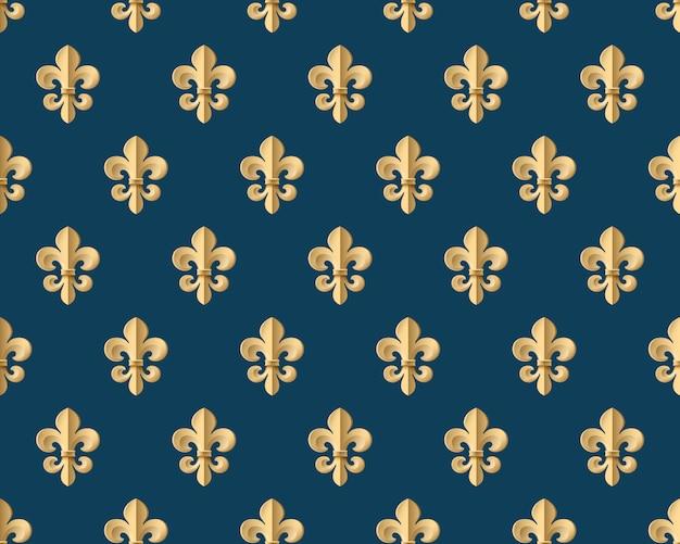 Modello oro senza soluzione di continuità con fleur-de-lys su uno sfondo blu scuro. illustrazione vettoriale