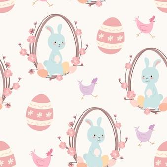 Modello pasquale. seamless texture con uova di pasqua, coniglietti e pollo.