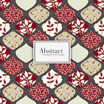 Modello patchwork floreale senza soluzione di continuità con elementi geometrici