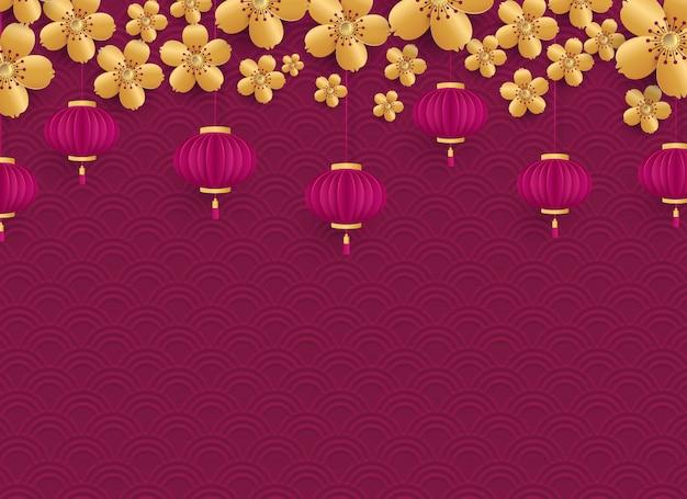 Modello per banner, poster, cartoline. fiori dorati della ciliegia e lanterne cinesi su una priorità bassa dentellare con impresso. illustrazione vettoriale