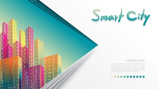 Modello per la presentazione. stile di taglio della carta. città intelligente