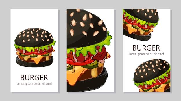 Modello per la pubblicità di hamburger da diverse ricette.