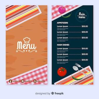 Modello per menu del ristorante con piatti diversi