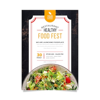Modello per poster ristorante di cibo sano con foto