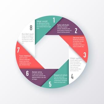 Modello per un grafico a torta delle otto parti. concetto di affari