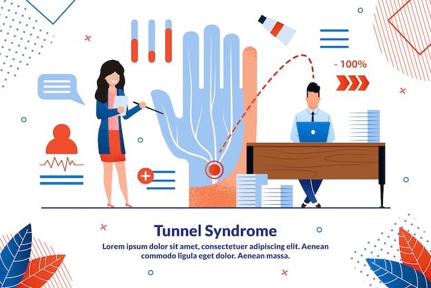 Modello piano dell'illustrazione di vettore di sindrome del tunnel carpale