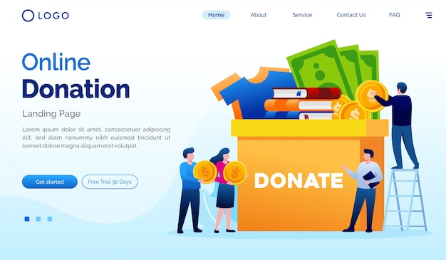 Modello piano di vettore dell'illustrazione del sito web della pagina di atterraggio di donazione online