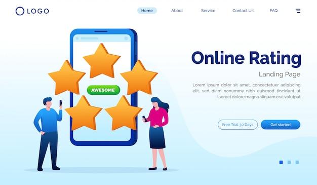 Modello piano di vettore dell'illustrazione del sito web della pagina di atterraggio di valutazione online