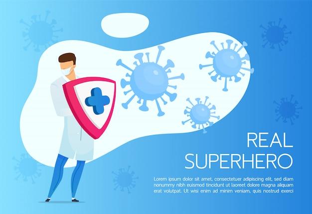 Modello piatto banner di protezione coronavirus