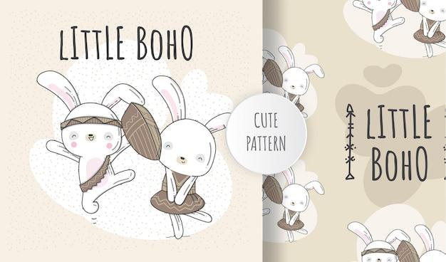 Modello piatto carino coniglietto animale stile boho