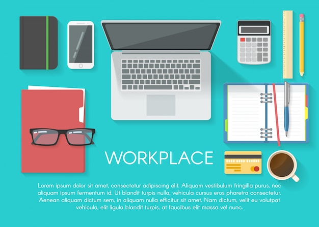 Modello piatto dell'area di lavoro