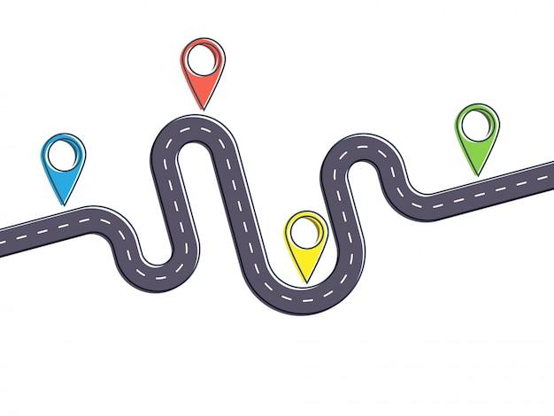 Modello piatto infografica viaggio con puntatore pin. banner moderno piatto sottile linea