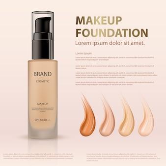 Modello, preparazione crema cosmetica pubblicità fondotinta