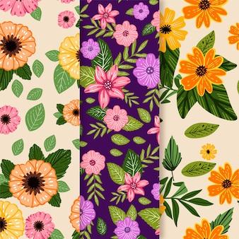 Modello primavera disegnato a mano impostato con fiori di campo