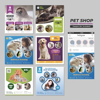 Modello promozionale di social media square per pet shop